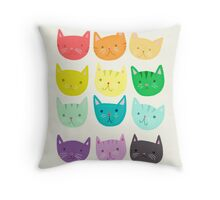 Rainbow Cats - Cute Cats - Colorful Cats  Throw Pillow