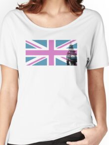 Union Jack and Big Ben, London, UK, Pink and Purple Women's Relaxed Fit T-Shirt