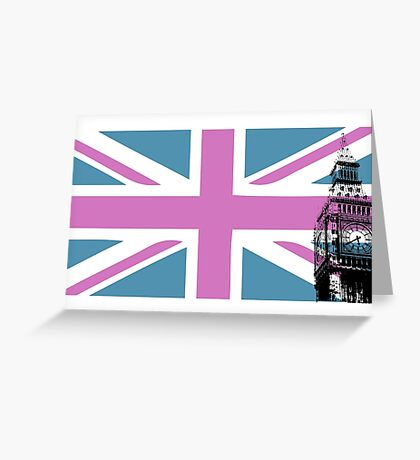 Union Jack and Big Ben, London, UK, Pink and Purple Greeting Card