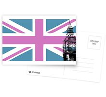 Union Jack and Big Ben, London, UK, Pink and Purple Postcards
