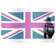 Union Jack and Big Ben, London, UK, Pink and Purple Poster