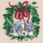 Christmas Puppy ~ T-shirt & Sticker ~ Blue Merle Aussie by Barbara Applegate