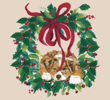 Christmas Puppy ~ T-shirt & Sticker ~ Red Merle Aussie by Barbara Applegate