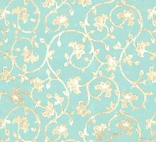 Exotic golden Baroque damask pattern, robin's egg blue by Glimmersmith