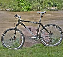 Mountain Bike near White Lick Creek Flood Waters by David Owens