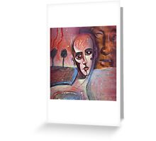 Red Flash in the Sky - Abstract face with writing Greeting Card