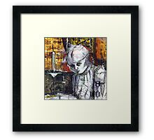 Abstract Gothic doll with stitches - black and white Framed Print