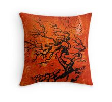 Old and Ancient Tree - Orange Red  Throw Pillow