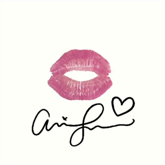 Ariana grande signature lips quot art prints by ronicher redbubble