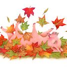 Little Pig's Bliss - Rolling In The leaves by Karen  Hull