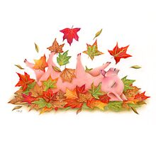 Little Pig's Bliss - Rolling In The leaves Photographic Print