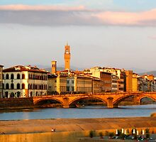 View across the river Arno in Florence by John Wallace
