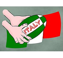 Italy Rugby Ball Flag Photographic Print