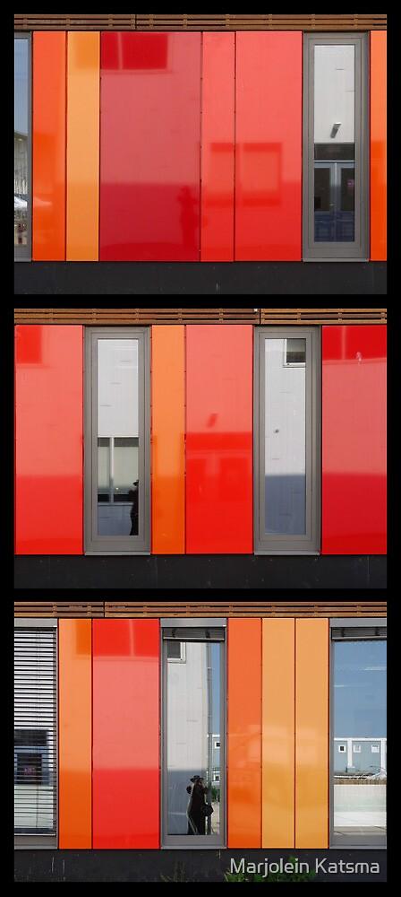 Het 4e Gymnasium - wood, wall panels, windows (triptych v) by Marjolein Katsma