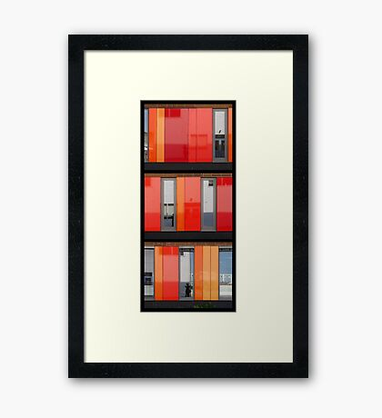Het 4e Gymnasium - wood, wall panels, windows (triptych v) Framed Print