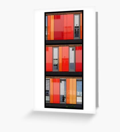 Het 4e Gymnasium - wood, wall panels, windows (triptych v) Greeting Card