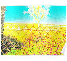 fence with flowers in front of freeway Poster