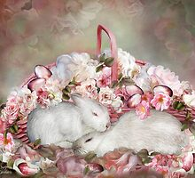 Easter Surprise - Bunnies And Roses by Carol  Cavalaris