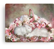 Easter Surprise - Bunnies And Roses Canvas Print
