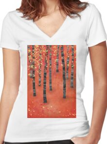Birches Women's Fitted V-Neck T-Shirt