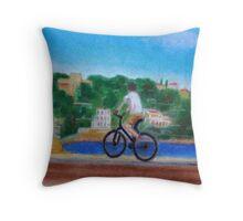 Biker at Port Throw Pillow