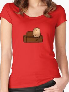 Funny couch potato cartoon Women's Fitted Scoop T-Shirt