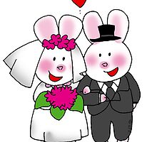 Cute bunny bride & groom wedding couple by CuteCartoon