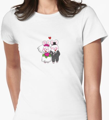 Cute bunny bride & groom wedding couple Womens Fitted T-Shirt
