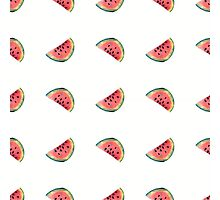 seamless pattern made of scattered decorative watermelon watercolor Photographic Print