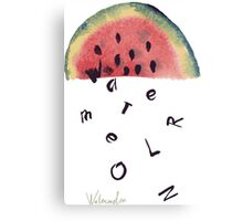 Watercolor illustration of watermelon on texture paper. Vector illustration. Canvas Print