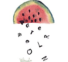 Watercolor illustration of watermelon on texture paper. Vector illustration. Photographic Print