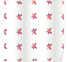 starfish watercolor seamless ornament pattern with footprints in sand. illustration. Poster