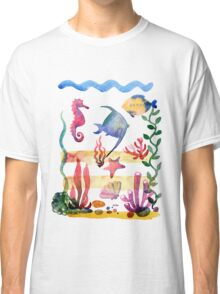 Set of different sea shells,corals and starfish. Watercolor illustration. Global color used. Classic T-Shirt