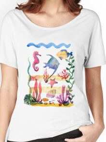 Set of different sea shells,corals and starfish. Watercolor illustration. Global color used. Women's Relaxed Fit T-Shirt