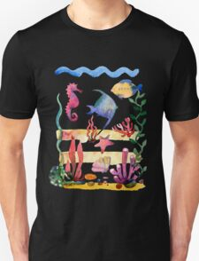 Set of different sea shells,corals and starfish. Watercolor illustration. Global color used. Unisex T-Shirt