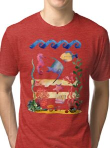 sea shells,corals and starfish. Watercolor illustration.  Tri-blend T-Shirt