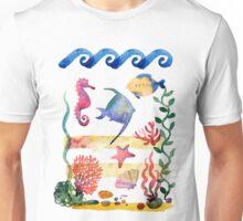 sea shells,corals and starfish. Watercolor illustration.  Unisex T-Shirt