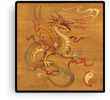 Chinese Dragon Wood Burn Canvas Print