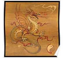 Chinese Dragon Wood Burn Poster