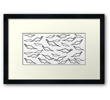 Dinosaurs (black on white) Framed Print