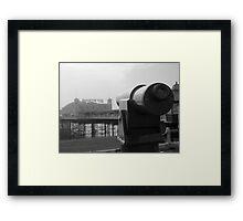 Brighton Pier telescope - BW Framed Print