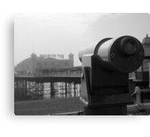 Brighton Pier telescope - BW Canvas Print