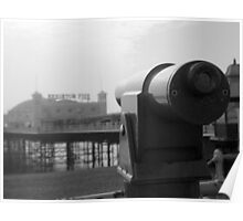 Brighton Pier telescope - BW Poster
