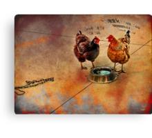 fowl language around the dog's bowl Canvas Print