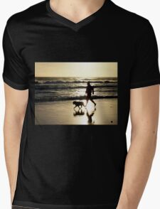 Sunset Beach Run Mens V-Neck T-Shirt
