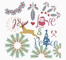 Christmas Joy Love Peace One Piece - Short Sleeve