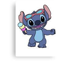 Happy Stitch with ice cream Canvas Print