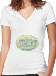 Log Cabin Resort Oval Etching Women's Fitted V-Neck T-Shirt