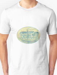 Log Cabin Resort Oval Etching T-Shirt