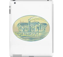 Log Cabin Resort Oval Etching iPad Case/Skin